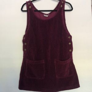 Burgundy Corduroy Overall Dress